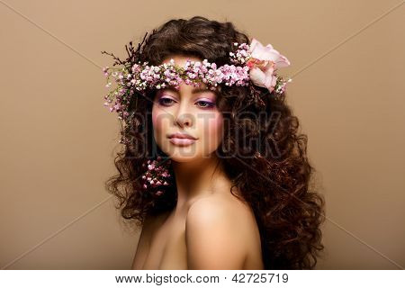 Maiden. Virginity. Beauty Fashion Model Young Romantic Girl - Brown Frizzle