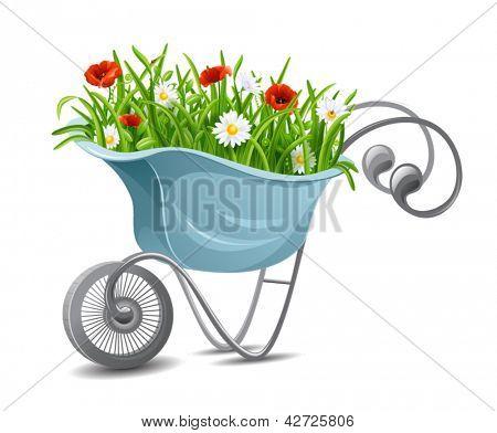 Jardinería. Carretilla con flores
