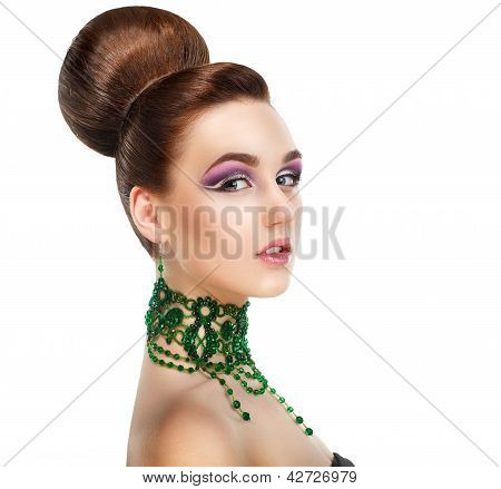 Profile Of Stylish Woman With Green Gems. Luxury. Aristocratic Profile
