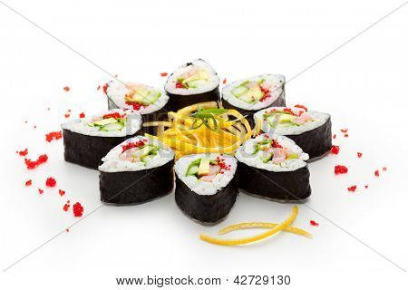 Maki Sushi made of Cucumber, Prawn (ebi), Avocado, Salad Leaf and Tobiko (flying fish roe) inside. Nori outside