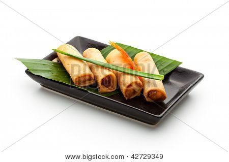 Fried Spring Rolls on Black Dish