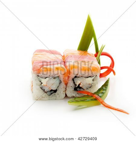 Salmon and Tuna Maki Sushi - Roll made of Cream Cheese and Shrimp (ebi) inside. Fresh Salmon and Tuna outside