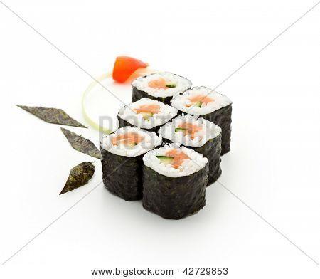 Sake Maki Sushi - Roll with Fresh Salmon and Cucumber