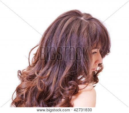 Pensive Woman With Beautiful Hair