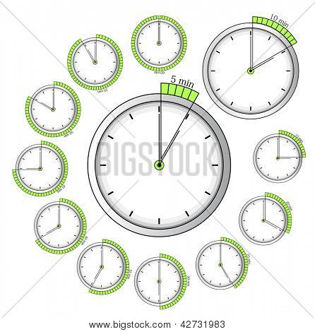 Set of vector timers: 5 min - 60 min