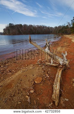 Red clay shoreline
