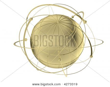 Globe With Wired Orbits Of Satellite