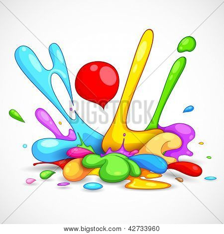 illustration of colorful color splash in Holi background