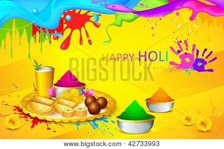 illustration of happy Holi wallpaper with colors and sweet