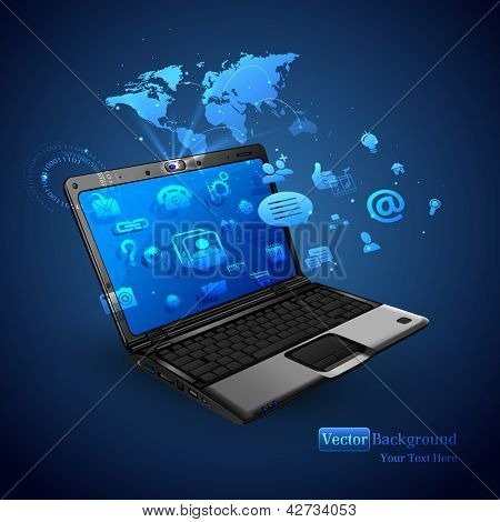 illustration of application coming out of laptop on abstract vector background