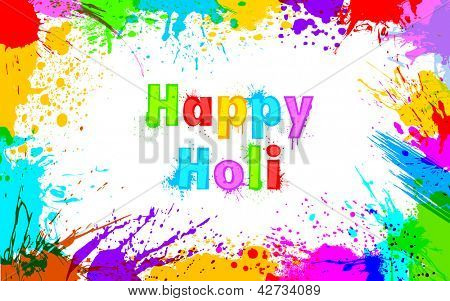 illustration of colorful grunge frame for Holi background