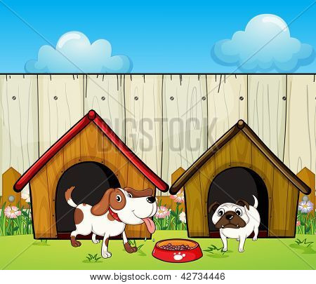 Illustration of the wooden doghouses inside the wooden fence
