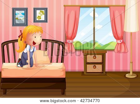 Illustration of a child in her clean bedroom