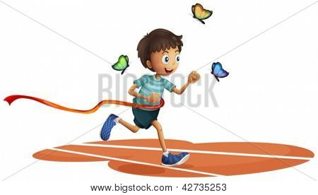 Illustration of a boy running with three butterflies on a white background