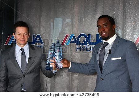 LOS ANGELES - FEB 26:  Mark Wahlberg, Sean Combs at the Aqua Hydrate Press Conference at the Private Location on February 26, 2013 in West Hollywood, CA