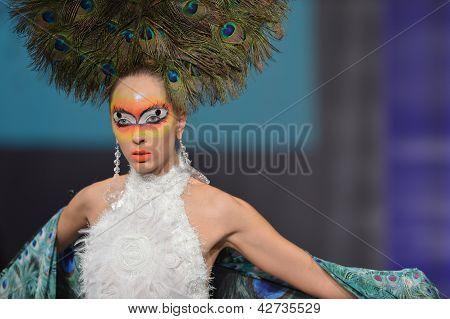 NEW YORK - FEBRUARY 15: Model walking the runway at Catalin Botezatu fashion show