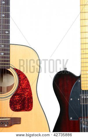 Color photo of an acoustic guitar on a white background