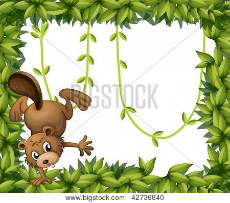 Illustration of a beaver and the green leafy border