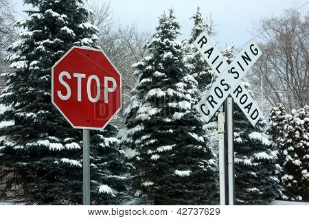 Stop - Railroad Crossing