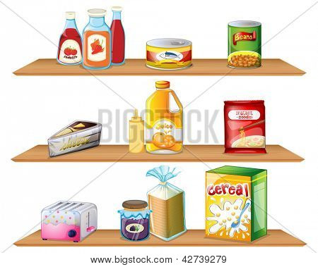 Illustration of three wooden shelves on a white background