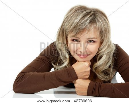 mid adult smiling woman portrait, attractive caucasian middle 40 years old woman over white