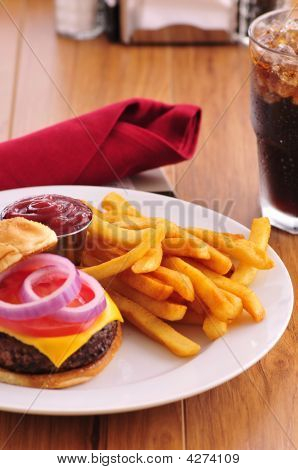 Cheeseburger And Fries, Pub Style