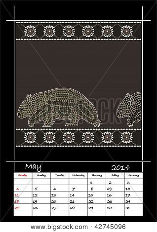 A Calender Based On Aboriginal Style Of Dot Painting Depicting Wombat