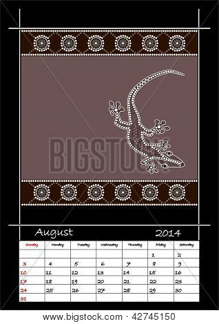 A Calender Based On Aboriginal Style Of Dot Painting Depicting Lizard