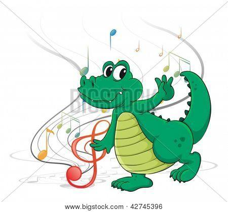 Ilustración de un dinosaurio bailando sobre un fondo blanco