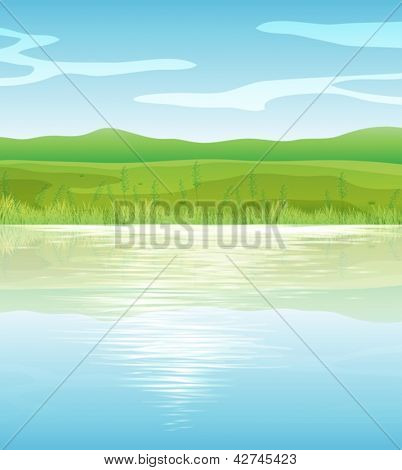 Illustration of a calm blue lake
