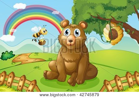 Illustration of a bear and a bee near a beehive