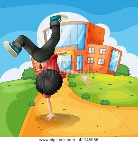 Illustration of a boy doing breakdance along the school
