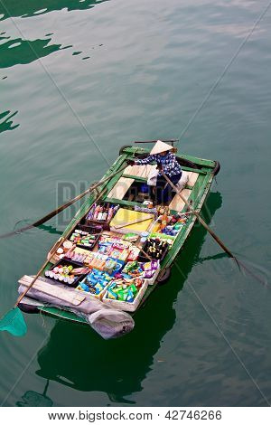 Grocery boat in Halong Bay,Vietnam