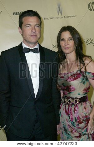 BEVERLY HILLS, CA - JAN. 13: Jason Bateman and wife arrive at the Weinstein Company's 2013 Golden Globes After Party on Sunday, January 13, 2013 at the Beverly Hilton Hotel in Beverly Hills, CA.