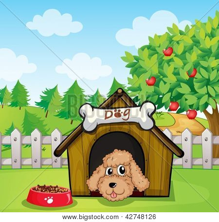 Illustration of a puppy and his dog food