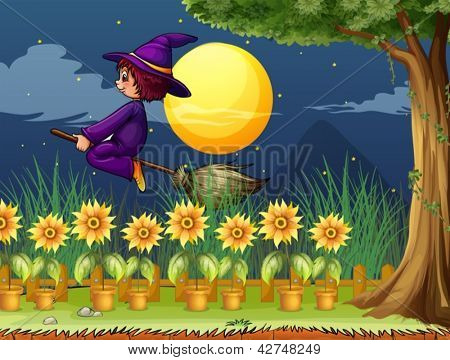 Illustration of a witch in the garden