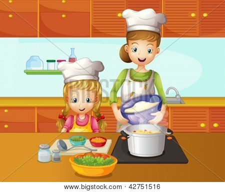 Illustration of a mother and daughter cooking