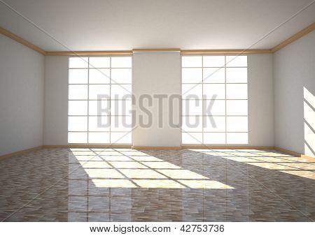 Quarto vazio duas janelas