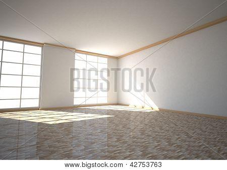 Empty Room Two Windows