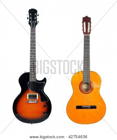 Classical acoustic guitar and electric guitar, isolated on white background