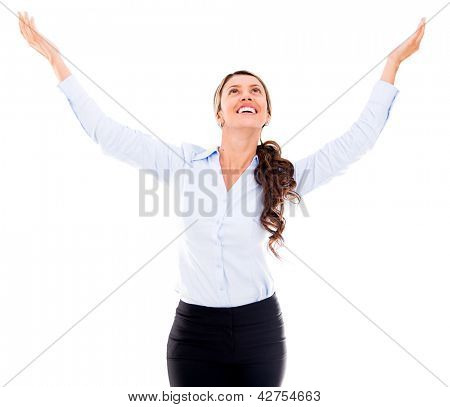 Business woman with open arms - isolated over a white background