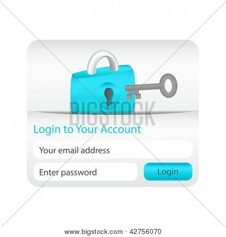 Login To Your Account Form For Websites And Applications With Lock Icon And Grey Key