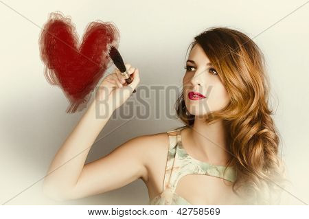 Beautiful Retro Girl Painting Red Love Heart
