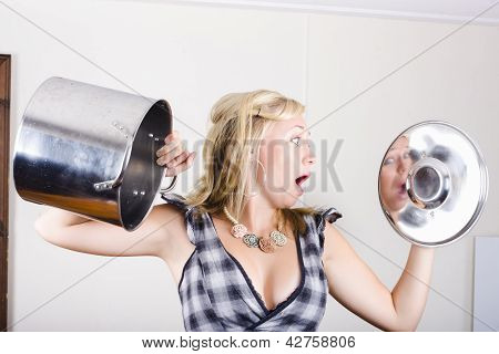 Shocked Woman Out Of Cooking Ingredients