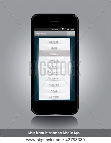 Main menu interface for mobile app. Editable vector format in portfolio.