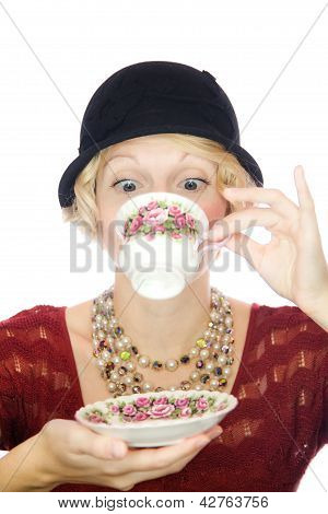 Beautiful lady portrait drinking tea
