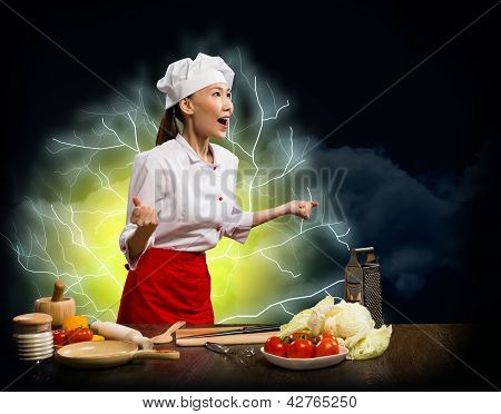 Asian woman furious cook, collage