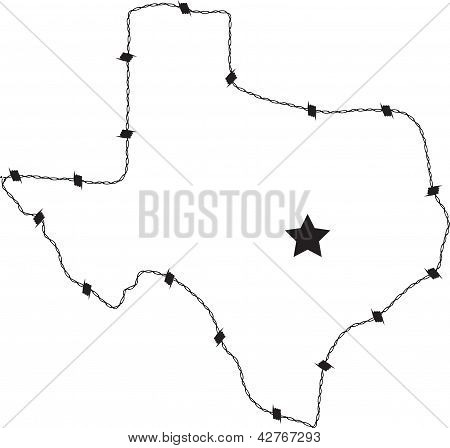 Texas outline in barb wire