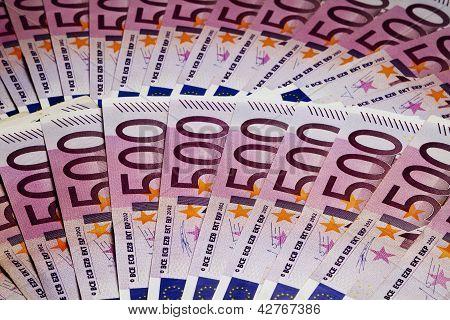 Many 500 Euro Banknotes