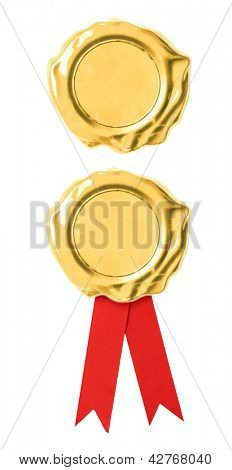 Golden seal isolated on white